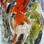 Miklós NÉMETH - Atelier Nudes | 1970 | oil monoprint | 42x29,5cm |