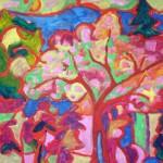 Tájkép vörös fákkal
