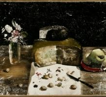 Csernus Tibor – Csendélet sajttal és vázával
